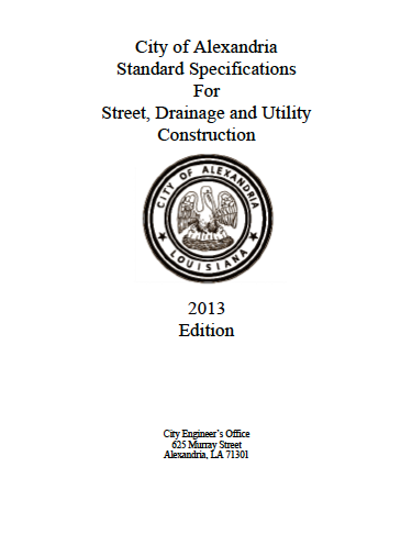 Standard Specifications For Street, Drainage And Utility Construction