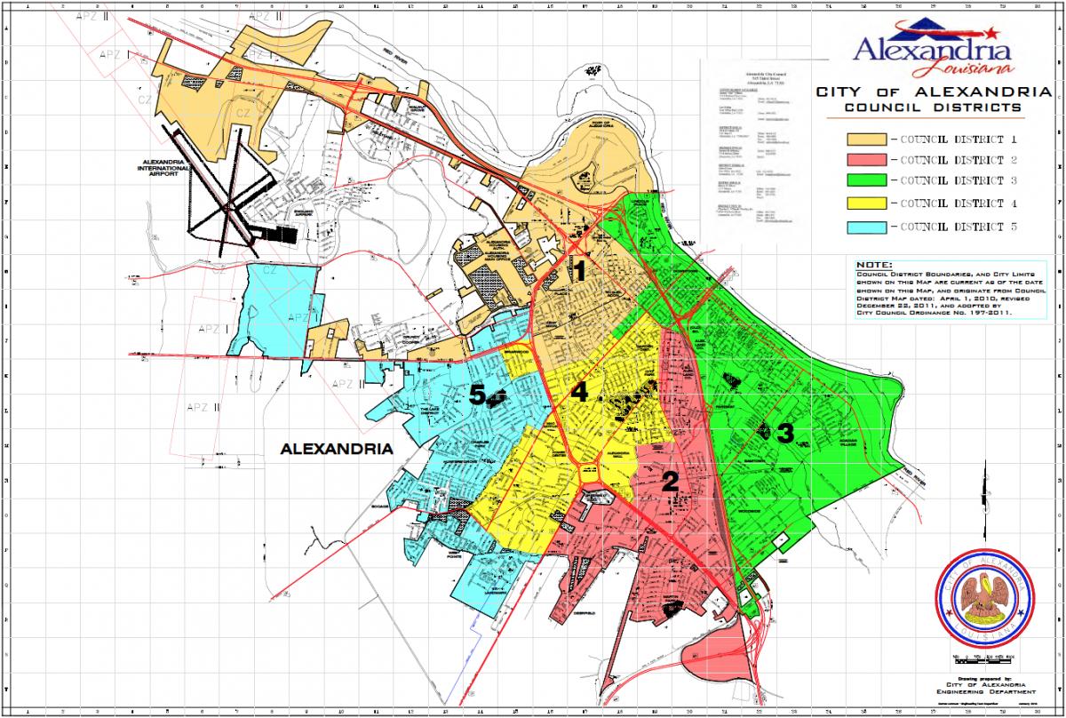 Engineering City Of Alexandria - Louisiana city map