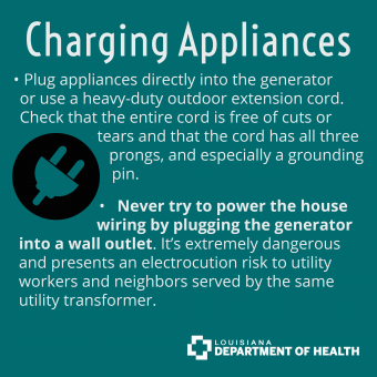 charging appliances on generator power